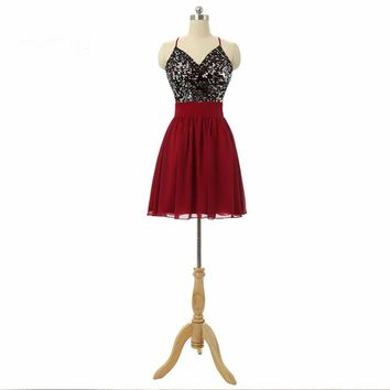 Cute Halter Neck Sequins Chiffon A Line Dresses Short dresses