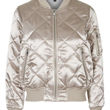 Shiny Quilted Bomber - New In