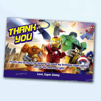 Superhero Lego Spiderman Thank You Card the beautiful personalized  card as a digital file