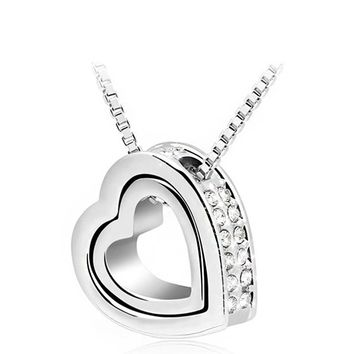 Crystal Heart Pendant Necklace Variety Colors