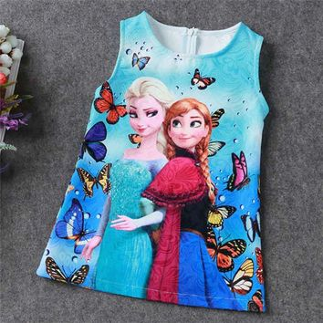 2017 Summer Baby Girl Elsa Dress Children Girls Princess Dresses Tulle Cartoon Cosplay Party Costume Birthday Gift Vestidos