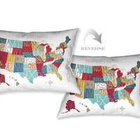 Colorful USA Map Indoor Decorative Pillow