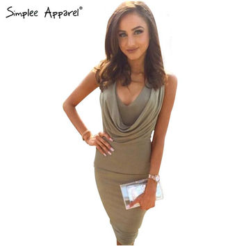 Simplee Apparel 2016 spring deep v neck women bodycon dresses Sleeveless draped knee length summer dress Casual dress vestidos