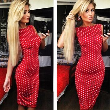 New Fashion Women Dress Halter Pencil Red Polka Dot Sleeveless Casual Evening Party Dress Mini Dresses Female Vestidos
