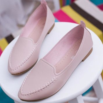 Fashion Women Point Toe Loafers Shoes Comfortable Leather Slip on Soft PU Shoes Ballet