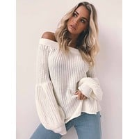 Women Simple Solid Color Long Sleeve Lantern Sleeve Knitwear Off Shoulder Sweater Tops