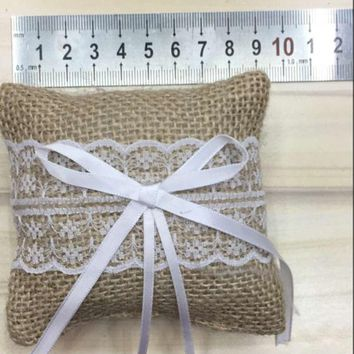 Wedding Jute Burlap Ring Pillow w/Bow Lace Trim (3.5 x 3.5 inches)
