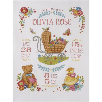 "Sweet Baby Birth Record Counted Cross Stitch Kit-10.5""X13.5"" 14 Count"