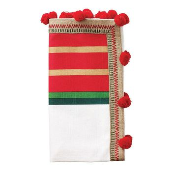 Jaipur Napkin in White, Green, and Red - Set of 4