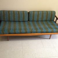 Vintage Mid Century Danish Modern Wood and Cast Iron Sofa Daybed