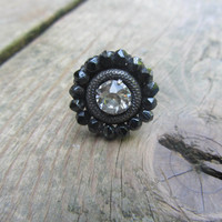 Vintage Swarovski Crystal Ring Adjustable Jet black flower Repurposed