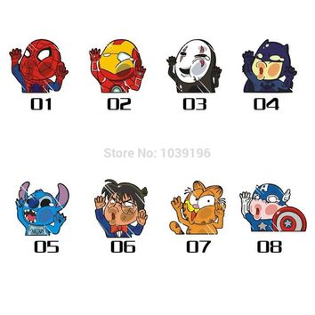 Newest Batman Ironman Spiderman Hitting the Glass Car Stickers Car Decals for Toyota Honda Chevrolet Volkswagen Tesla BMW Lada