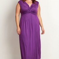 Purple-Draped-Plus-Size-Maxi-Dress
