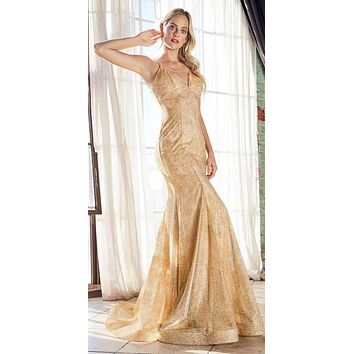 Long Fitted Mermaid Dress Gold Glitter Print Details Lace Up Back