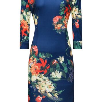 Streetstyle  Casual Courtly Round Neck Floral Printed Bodycon Dress