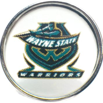 Wayne State Warriors College Logo Fashion Snap Jewelry University Snap Charm