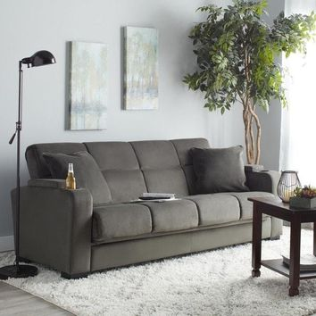 Clay Alder Home Klingle Grey Velvet Convert-a-Couch Futon Sofa Sleeper