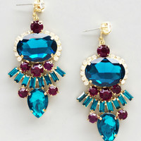 Jeweled Teal Crystal Earrings