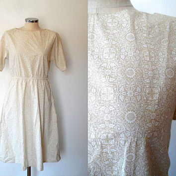 Sepia and white floral print tunic dress / dark cream / liberty style print / vintage / short sleeve / midi length / summer cotton dress