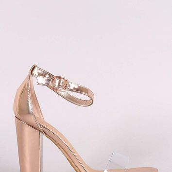 Bamboo Metallic Open Toe Clear Strap Chunky Heel