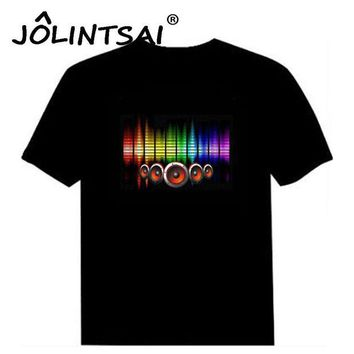 DK7G2 Hot Sale Sound Activated Led Cotton T Shirt Light Up and Down Flashing Equalizer EL T-Shirt Men for Rock Disco Party DJ Top Tee