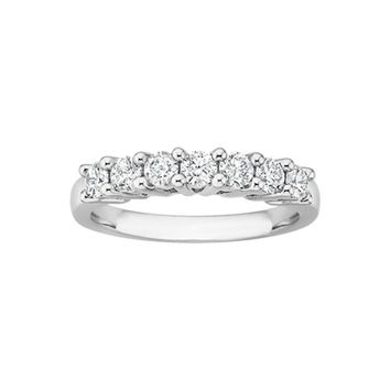 JewelMore 14k White Gold 3/4ct TDW Round Diamond Anniversary Wedding Band (G-H/ I1-I2).