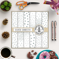 Silver Confetti Digital Paper Pack | Scrapbook Paper | Printable Backgrounds | 12 JPG, 300dpi Files | BUY5FOR8