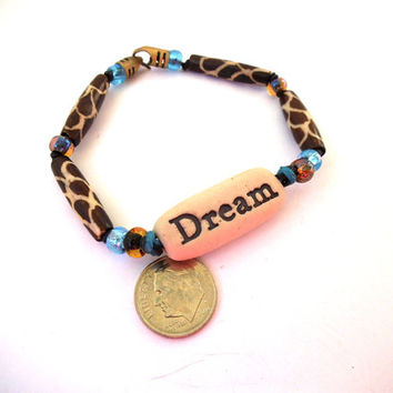 """Brown & Blue """"DREAM"""" Bracelet with Animal Print Glass Beads, Porcelain Clay Beads and Seed Beads, Statement Jewelry"""