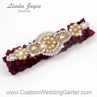 Burgundy and Gold Vintage Wedding Garter Rhinestone 332 Wine Maroon Merlot Custom Luxury Prom Garter Plus Size & Queen Size Available