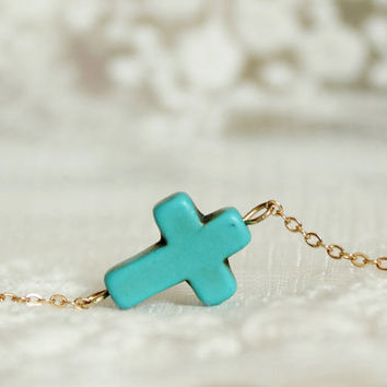 turquoise sideways cross necklace -  blue and brass -dainty cross necklace