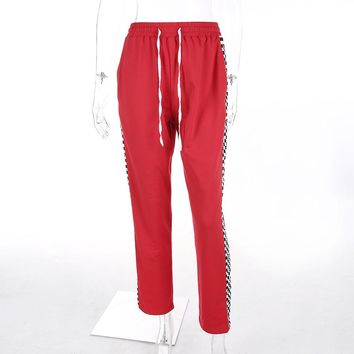 Checkered Red Sweat Pants