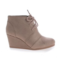RexLt Taupe By Soda, lace up oxford ankle bootie round toe high hidden wedge heel women's shoe