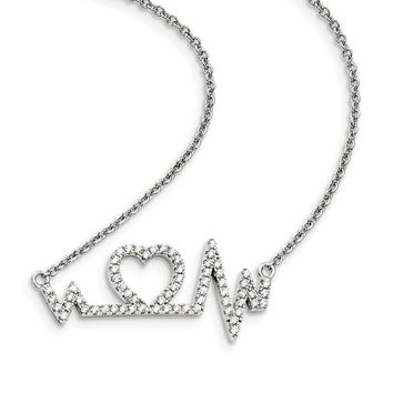 Sterling Silver & Zirconia Heart Necklace