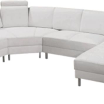 White Leather Sectional, Modern Canon Sectional Sofa - Opulentitems.com