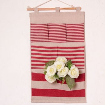 Korean Cotton Linen Storage Red Stripes Bags [6283598662]