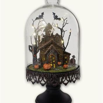 Cursed Cottage Cloche   Haunted House Under Glass Dome