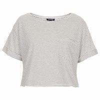 STRIPE POCKET CROPPED TEE