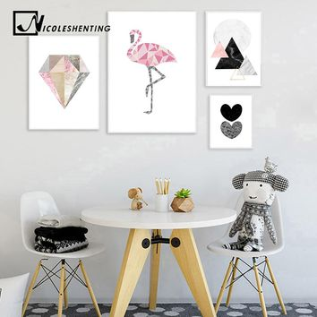 Geometry Flamingo Heart Wall Art Canvas Posters and Prints Nordic Style Abstract Painting Wall Picture Modern Home Decoration