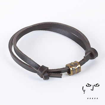 VujuWear Beaded Dark Brown Leather Bracelet