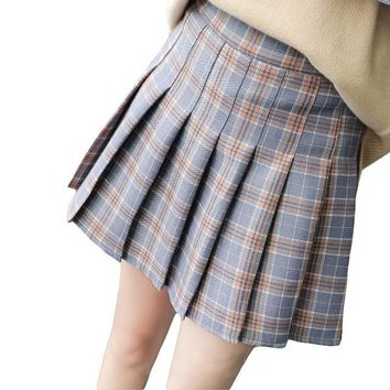 4e04982e38 Women Pleat Skirt Harajuku Preppy Style Plaid Skirts Mini Cute School  Uniforms Ladies Jupe Kawaii Skirt