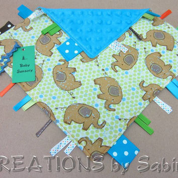 Baby Ribbon Tag Blanket, Sensory Toy, Ribbon Blankie, turquoise minky, blue, elephants, elephant, green READY TO SHIP 146