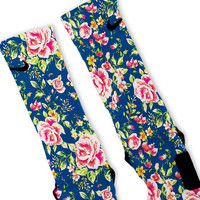 Deep Blue Floral Custom Nike Elite Socks