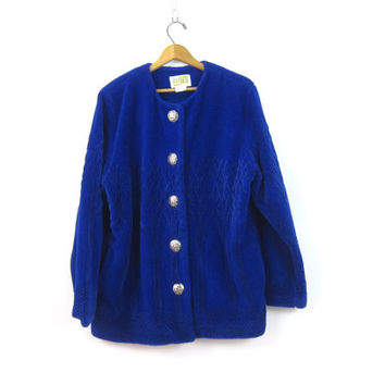 vintage 1990s fleece Coat Royal Blue Duffel Ski blanket Coat Button Up sweatshirt coat Slouchy Fuzzy sweater Tree Knit Womens Large
