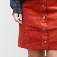 Ellison Place Corduroy Skirt {Rust}