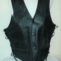 eBlueJay: leather Vest Large Harley Davidson Wings Patch Biker Vest Small