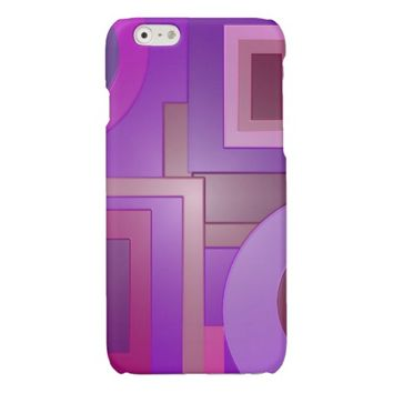 Mod purple squares circles glossy iPhone 6 case