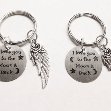 I Love You To The Moon And Back My Angel Wing Best Friend Couple's Keychain Set