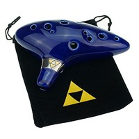 TOTMC® Legend of Zelda Ocarina of Time Triforce Link 12 Hole Alto C Mediant Tone Ocarina Zelda Cosplay Ceramic Replica + Textbook