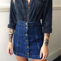 2016 New Summer Arrival Denim Skirts Front Button Package Skirt  Women Pencil Jeans For Women Ladies