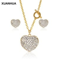 XUANHUA Heart Jewelry Sets Wedding Jewellery Stainless Steel Jewelry Women Necklace And Earing Set Gifts For Women Fashion 2018